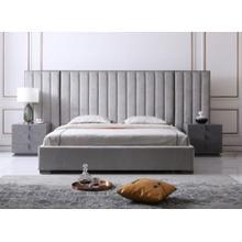 Modrest Buckley - Modern Grey & Black Stainless Steel Bed w/ Nightstands