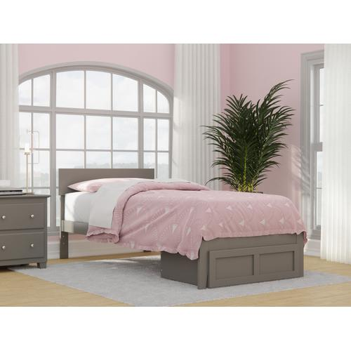 Boston Twin Extra Long Bed with Foot Drawer in Grey