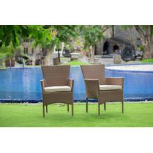 BORK PATIO CHAIR WITH CUSHION, BROWN WICKER, AND BEIGE CUSHION