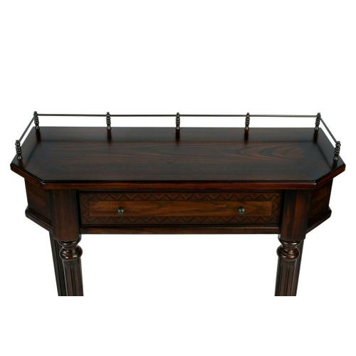 Made of select solid woods and choice veneers. Ash veneer with mahogany veneer inlay on top drawer fronts. Ash veneer on bottom shelf. Antique brass finished gallery and hardware on drawer.