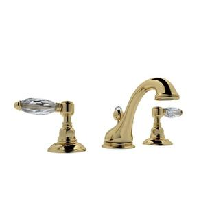 Unlacquered Brass Viaggio C-Spout Widespread Lavatory Faucet with Crystal Lever