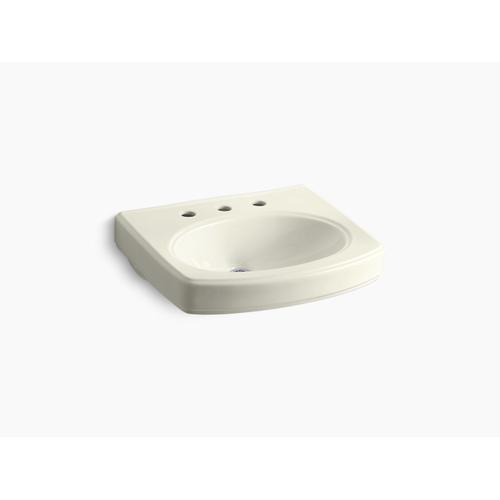 """Biscuit Bathroom Sink Basin With 8"""" Widespread Faucet Holes"""