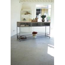See Details - rolling metal console \ wire mesh drawers & wood top