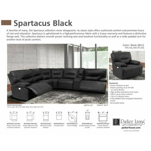SPARTACUS - BLACK Power Right Arm Facing Recliner