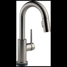 Black Stainless Single Handle Pull-Down Bar/Prep Faucet with Touch