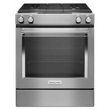 See Details - 30-Inch 4-Burner Dual Fuel Downdraft Front Control Range - Stainless Steel