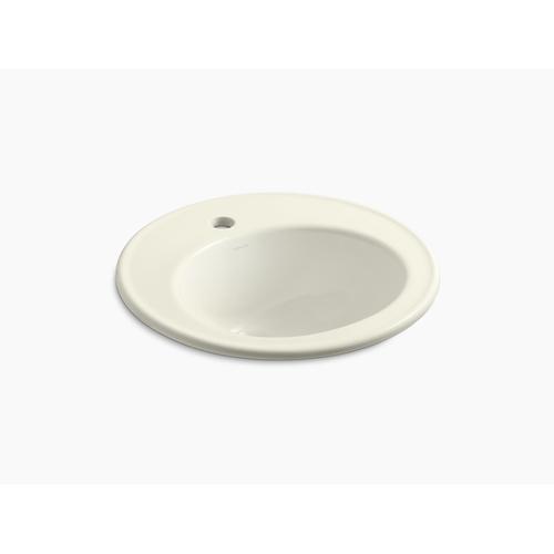 "Biscuit 19"" Diameter Drop-in Bathroom Sink With Single Faucet Hole"