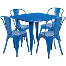 31.5'' Square Blue Metal Indoor-Outdoor Table Set with 4 Stack Chairs