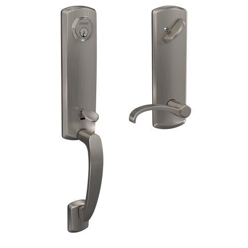 Custom Greenwich 3/4 Trim Single Cylinder Handleset with Whitney Lever - Satin Nickel