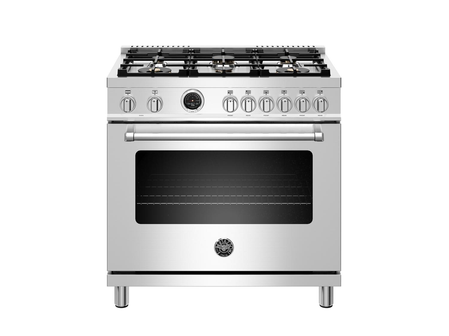 Bertazzoni36 Inch Dual Fuel Range, 6 Brass Burners, Electric Self-Clean Oven Stainless Steel