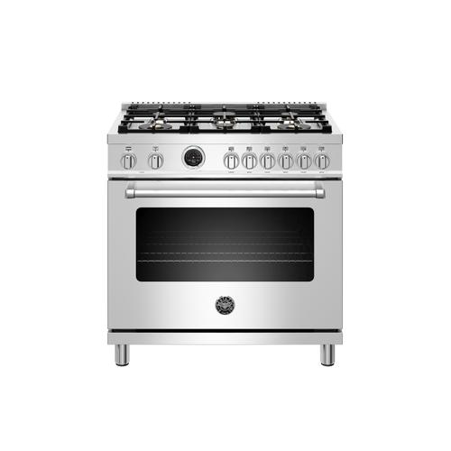 Bertazzoni - 36 inch Dual Fuel Range, 6 Brass Burners, Electric Self-Clean Oven Stainless Steel