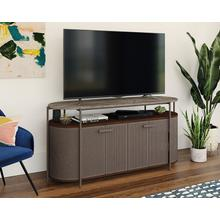 Modern Metal TV Stand with Faux Stone Top