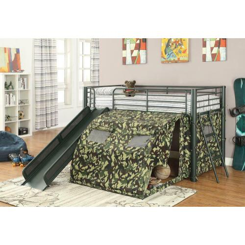 Camouflage Themed Glossy Green Loft Bed