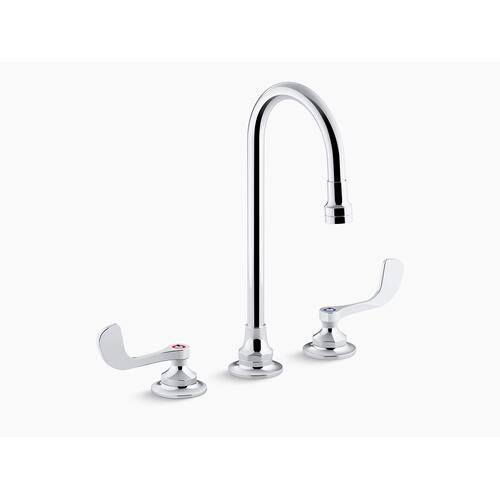 Polished Chrome 1.0 Gpm Widespread Bathroom Sink Faucet With Laminar Flow, Gooseneck Spout and Wristblade Handles, Drain Not Included