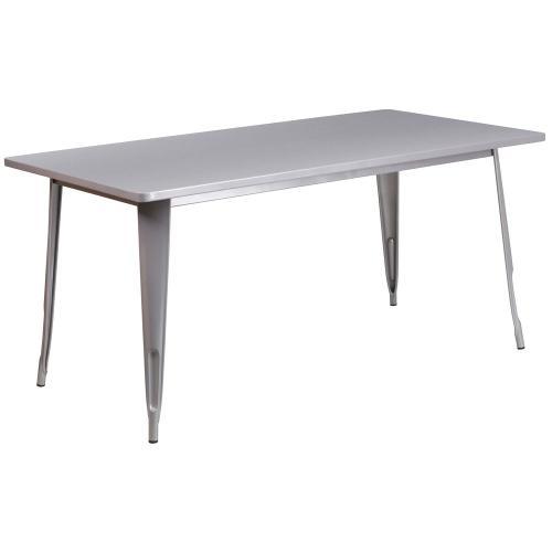 31.5'' x 63'' Rectangular Silver Metal Indoor-Outdoor Table