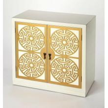 Defined by hand painted gold accent doors , this cabinet doubles as a storage and accent piece. Use it to keep serve ware and plates at-the-ready in the dining room, or use its 2 tiers to stack up board games and craft supplies in the den. Gold cabinet pu