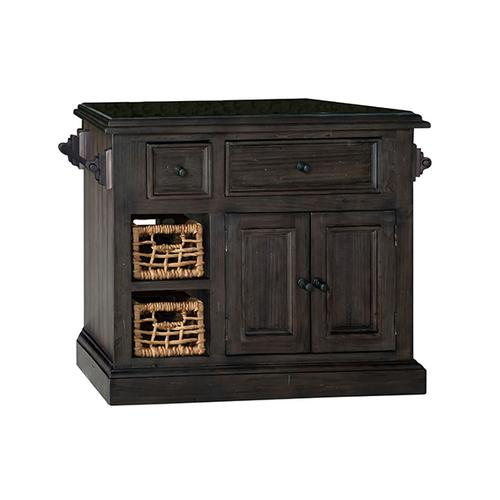 Gallery - Tuscan Retreat® Medium Granite Top Kitchen Island With 2 Baskets - Weathered Gray With Antique Pine