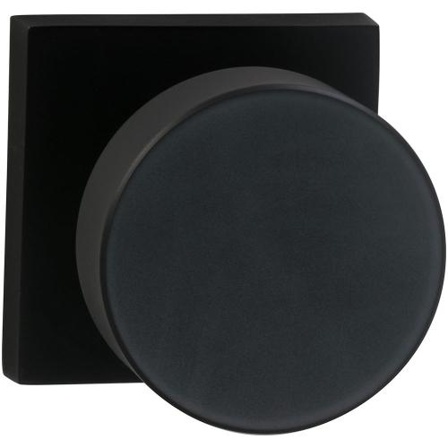 Product Image - Interior Modern Knob Latchset with Square Rose in (US10B Black, Oil-Rubbed, Lacquered)