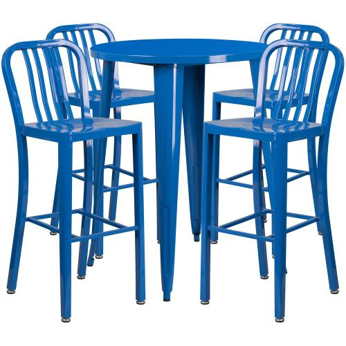 30'' Round Blue Metal Indoor-Outdoor Bar Table Set with 4 Vertical Slat Back Stools