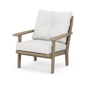 Polywood Furnishings - Lakeside Deep Seating Chair in Vintage Sahara / Natural Linen