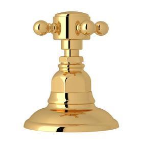 Deck Mount 3-Port 2 Direction Diverter - Italian Brass with Cross Handle