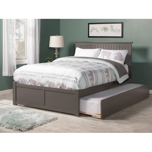 Nantucket Full Flat Panel Foot Board with Urban Trundle Bed Atlantic Grey