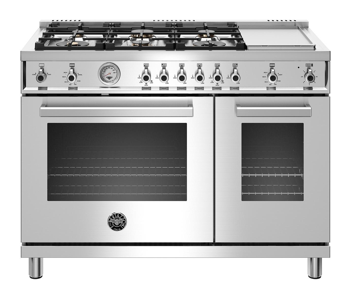 "Bertazzoni48"" Professional Series Range - Gas Oven - 6 Brass Burners + Griddle - Lp Version"