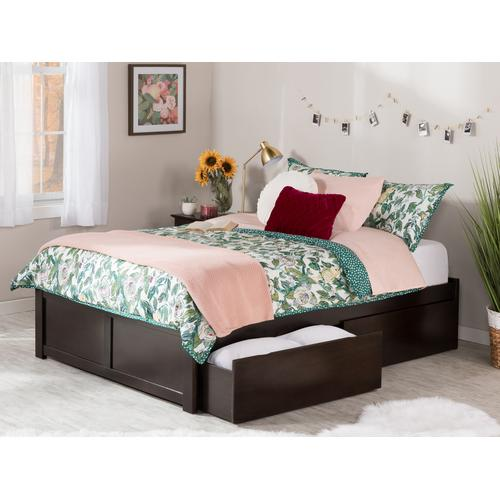 Atlantic Furniture - Concord Queen Flat Panel Foot Board with 2 Urban Bed Drawers Espresso
