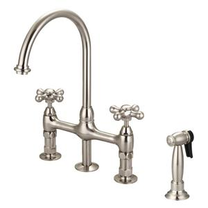 Harding Kitchen Bridge Faucet with Sidespray and Metal Cross Handles - Brushed Nickel Product Image