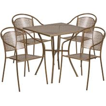 28'' Square Gold Indoor-Outdoor Steel Patio Table Set with 4 Round Back Chairs