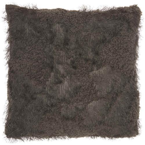 "Faux Fur L0296 Charcoal 18"" X 18"" Throw Pillow"