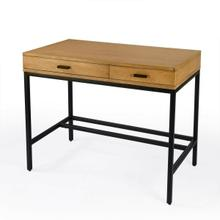 See Details - Modern and industrial, the Hans Writing Desk is made from beautifully crafted Mango wood with Gamelina Veneers and MDF and encompassed with an iron frame. The clean lines and unfussy design make this piece functional in a number of different aesthetics. This setup features two full extension pull out drawers with side mounted metal glides, to ensure smooth and easy motion. This piece is the perfect addition to your home office.