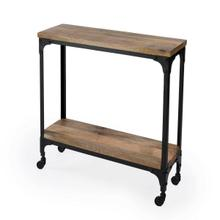 See Details - Hand-crafted from iron and mango wood, this rustic console table on casters offers a portable option for serving guests. It offers a tabletop display and a matching lower display shelf. Its black iron frame and burnt umber wood finish are complimentary to one another.