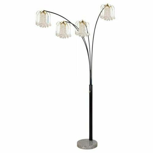 ACME Chandelier Floor Lamp - Shade & Stand - 03678BK - Black - Crystalline Lamp