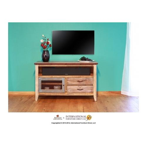 "52"" TV Stand w/2 drawers and 1 iron mesh door"