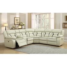 Leo Two-Tone Leather Gel Ivory & Brown Reclining Sectional