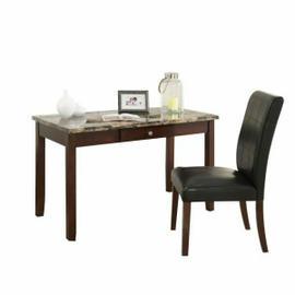 ACME Sydney 2Pc Pack Desk & Chair - 92213 - Brown Faux Marble & Dark Walnut