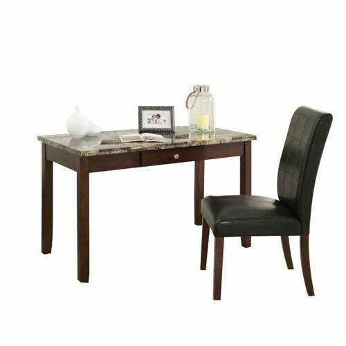 ACME Sydney 2Pc Pack Desk & Chair - 92213 - Brown Faux Marble & Dark Walnut