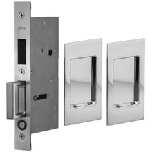 Pair Dummy Pocket Door Lock with Modern Rectangular Trim featuring Mortise Edge Pull in (US26 Polished Chrome Plated)