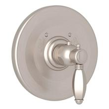 Hex Thermostatic Trim Plate without Volume Control - Satin Nickel with Metal Lever Handle
