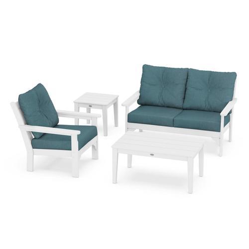 Vineyard 4-Piece Deep Seating Set in White / Ocean Teal