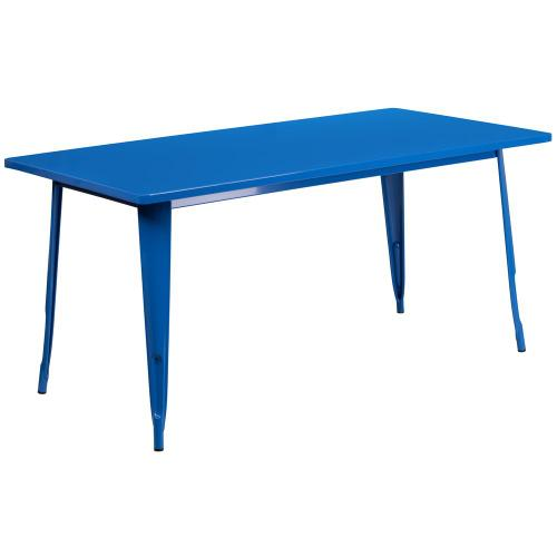 31.5'' x 63'' Rectangular Blue Metal Indoor-Outdoor Table