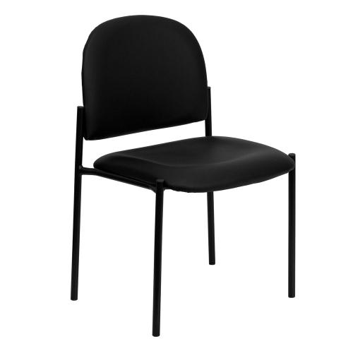 Comfort Black Vinyl Stackable Steel Side Reception Chair