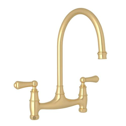 Georgian Era Bridge Kitchen Faucet - Satin English Gold with Metal Lever Handle