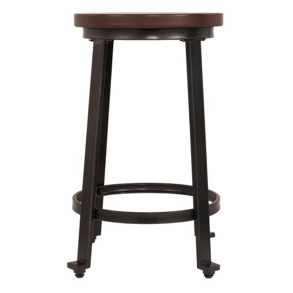 See Details - Challiman - Rustic Brown Set Of 2 Dining Room Barstools