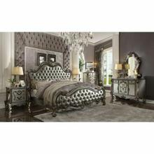 ACME Versailles II California King Bed - 26834CK - Silver PU & Antique Platinum