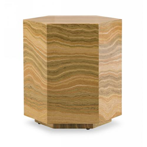 Gallery - Modrest Lacuna - Glam Amber and Gold Marble End Table