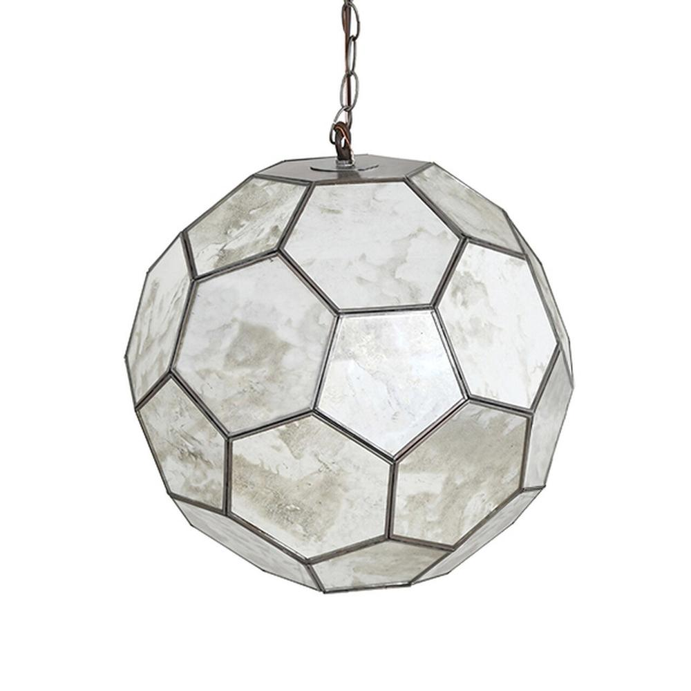 """Like A Sparkling Star, Our 15"""" Knox Ball Pendant Catches and Reflects Ambient Light From Numerous Antique Mirrored Facets While Radiating Light From Within. Group Multiple Knox Pendants Together for A Unique, Custom Lighting Display."""
