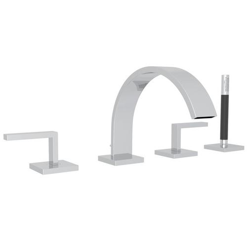Polished Chrome Wave 4-Hole Deck Mount Tub Filler With Lever Handles And Handshower with Wave Metal Lever