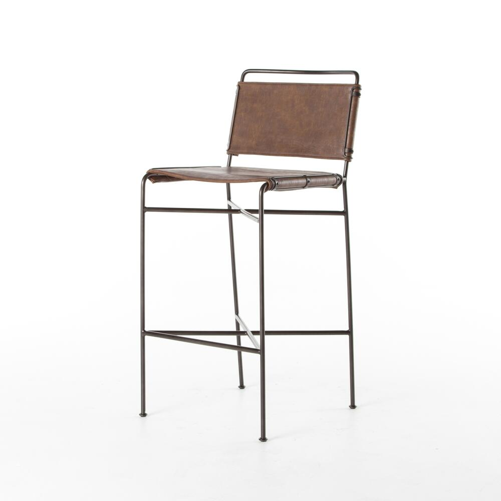 See Details - Bar Stool Size Distressed Brown Cover Wharton Bar + Counter Stool